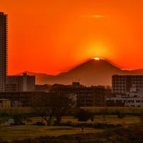 多摩川大橋のダイヤモンド富士