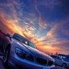 BMWと夕日(HDR)