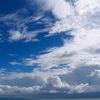 土佐湾の夕立雲