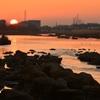 多摩川を染める陽光
