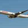 「青が大好き」 Swiss A340-313 HB-JMI 飛び立ち