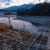 大井川の日が落ちる