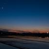 近所で見つけた三日月と宵の明星