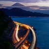 駿河湾から富士を望む
