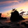 奇石の夕景