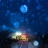 無人駅に降る雪