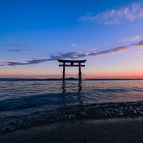 白鬚神社の夕陽