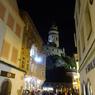 チェコ南部(491)夜の チェスキー・クルムロフ城の塔