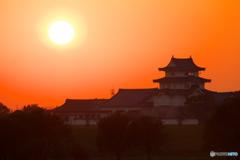 関宿城の夕景