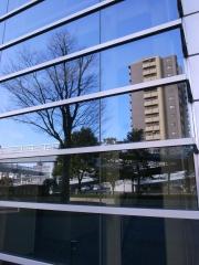 ガラスに映る風景