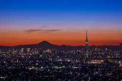 富士山と東京スカイツリークリスマス特別ライトアップ/ ホワイトツリー