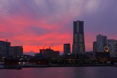 横浜大さん橋からの夕景富士/4