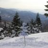雪山からの景色と看板