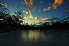 氷上の夕景