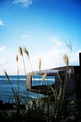 廃墟屋上からUFO屋敷と海 -LOMO LC-A-