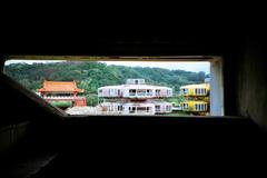 UFO屋敷の階段の窓から -LOMO  LC-A-