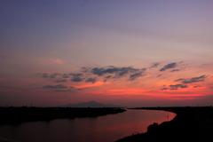 白川河口の夕焼け