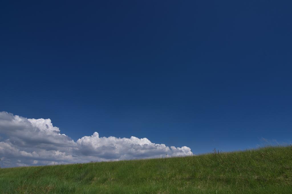 土手の上の雲