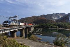 吉井川(よしいがわ)鉄橋を渡るEF210桃太郎