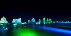 橋杭岩ライトアップ2