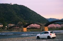 錦帯橋と桜とnismo