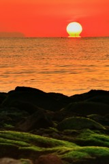キワラビーチのだるま朝日