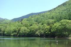 湯ノ湖にて 釣り人