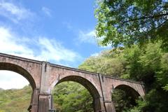 めがね橋と新緑 2