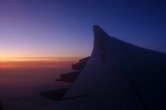 高度11,000メートルの夕焼け