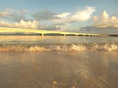 こうり大橋と波