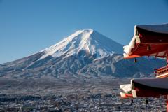軒越しの富士