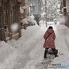 孫の 雪かき体験