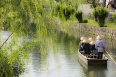 夏柳と川舟流し
