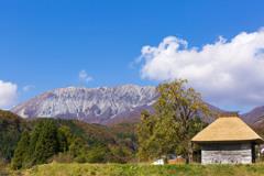 御机の茅葺小屋と大山