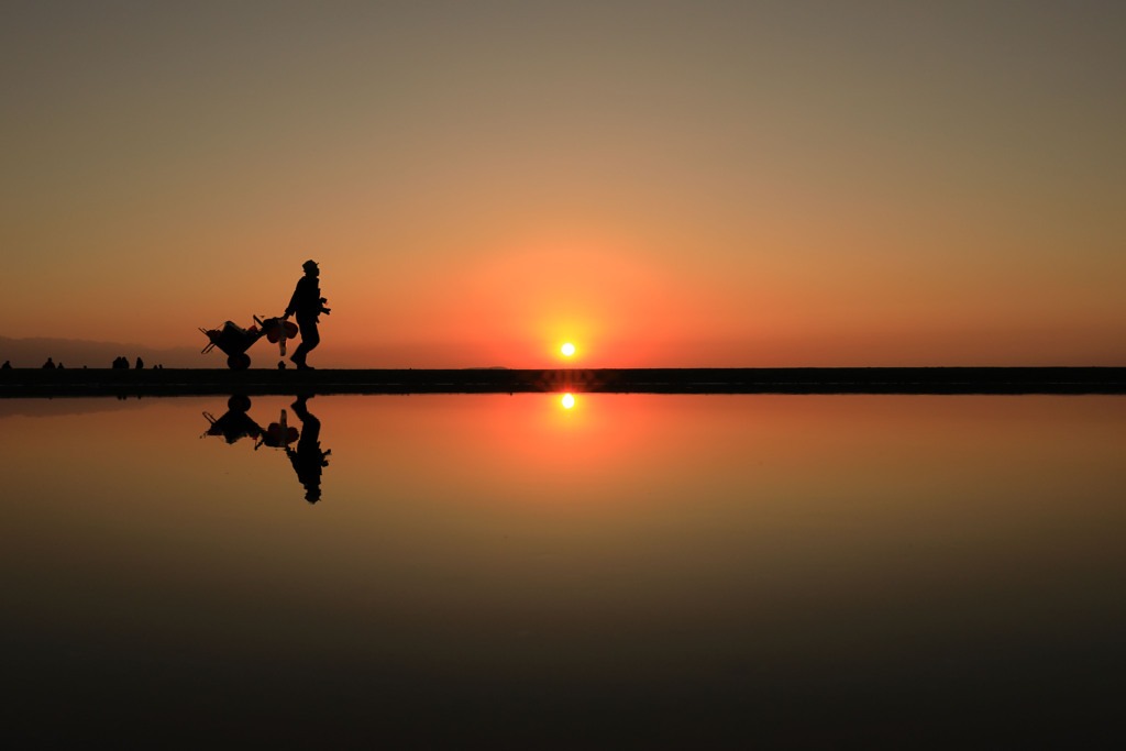 夕陽が沈む時。