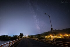 街灯 薄い天の川