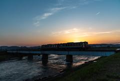 Train melting into the sunset