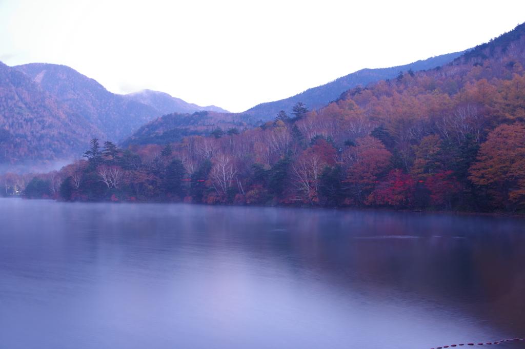 湖畔を流れるテールランプ