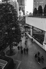 新宿駅に向かう人たち