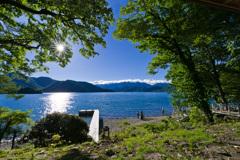 西日輝く中禅寺湖