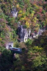 トンネルを抜けると紅葉の峡谷