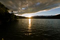 中禅寺湖の日暮れ