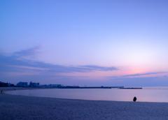 朝 須磨海岸にて