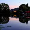 大覚寺 大沢池の夕景
