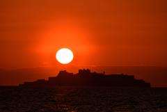 夕暮れの軍艦島