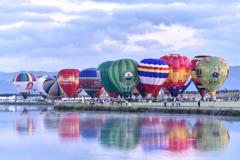 嘉瀬川河川敷で離陸を待つフェスタ気球