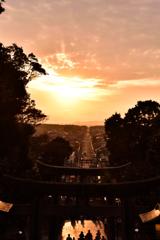 光の道「夕日の祭」