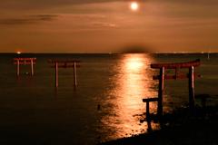 赤い三つの鳥居と満月と。。。