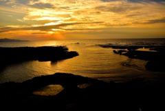 五色浜の夕焼け