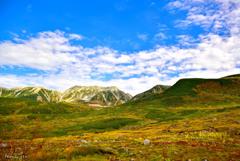 色づき始めの弥陀ガ原より 立山の秋